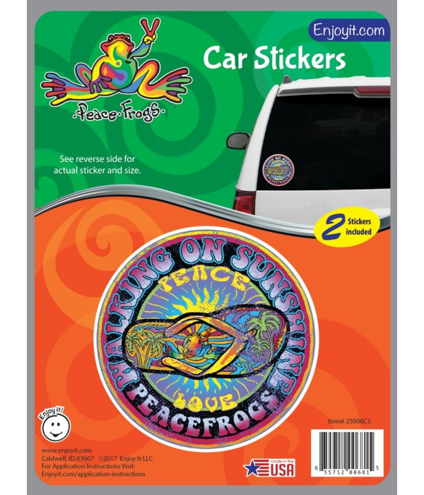 Walking on Sunshine Peace Frogs Car Stic