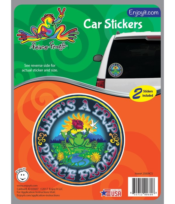 Lifes a Trip Peace Frogs Car Sticker