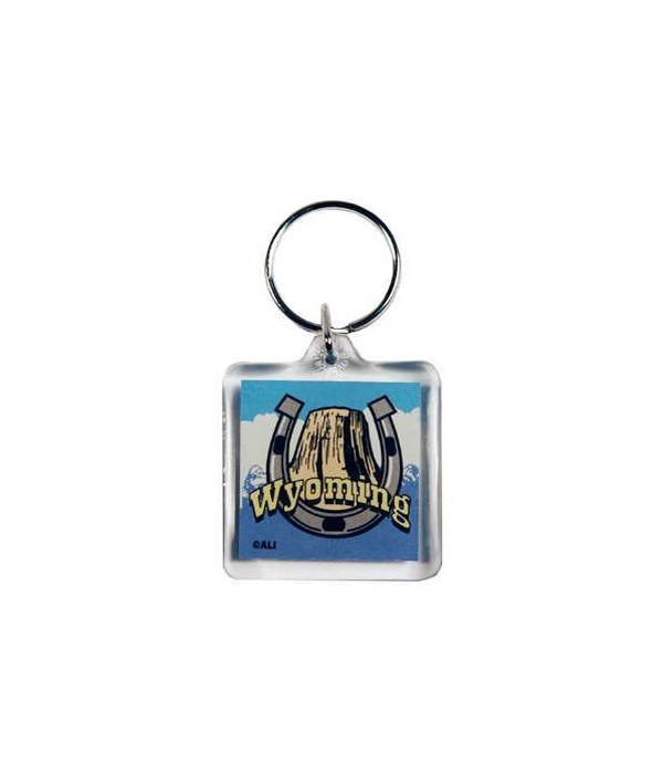 WY Keychain Lucite State Map