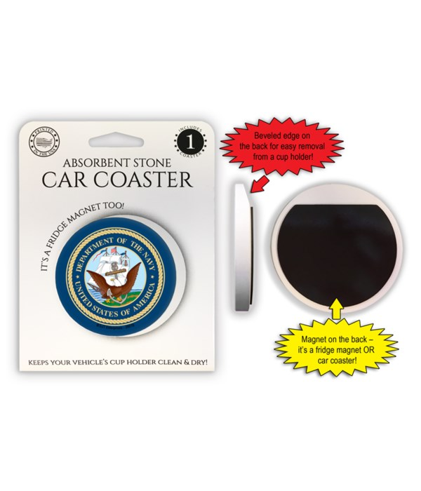 Navy Car Coaster Magnet