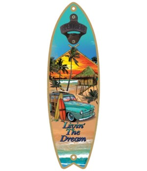 Living the Dream - Surfboard bottle open