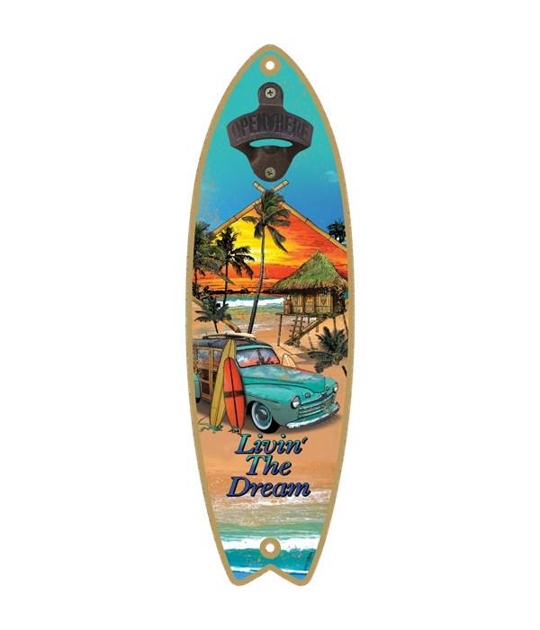 Living the Dream - Surfboard bottle open