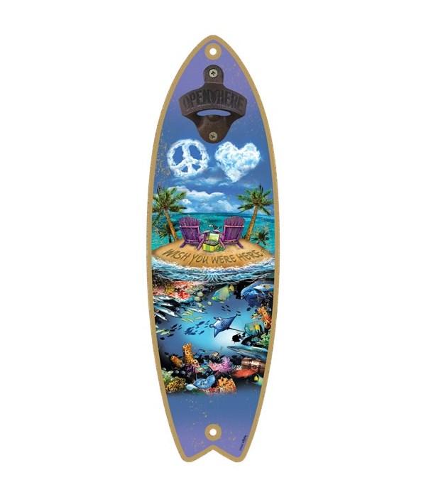 Wish you were here - Surfboard bottle op