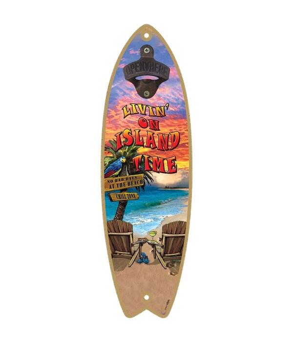 Island Time - Surfboard bottle opener -
