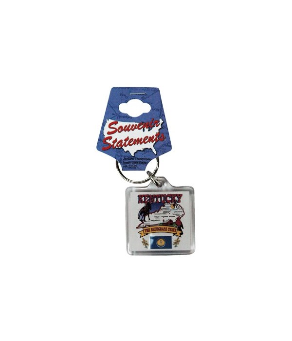 KY Keychain Lucite State Map