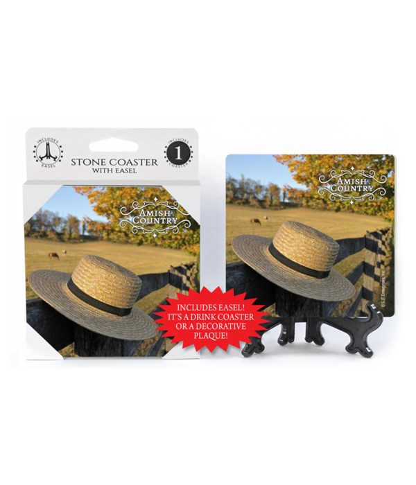 Amish Country - Hat hanging on a wood fe