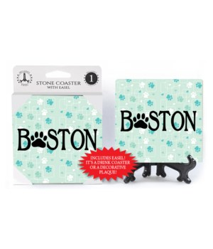 "Boston - with paw print as the ""O"""