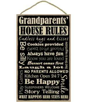 Grandparents' House Rules 10 x 16 sign