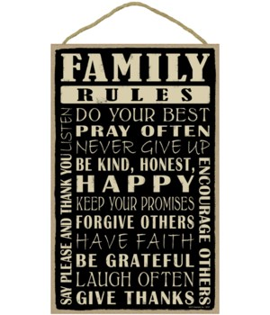 Family Rules 10 x 16 sign
