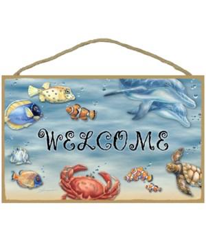 WELCOME (sea life) English 10 x 16 sign