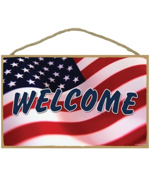 WELCOME (American flag) English 10 x 16