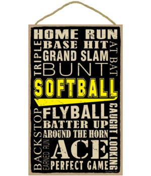 Softball (word art) 10 x 16 sign