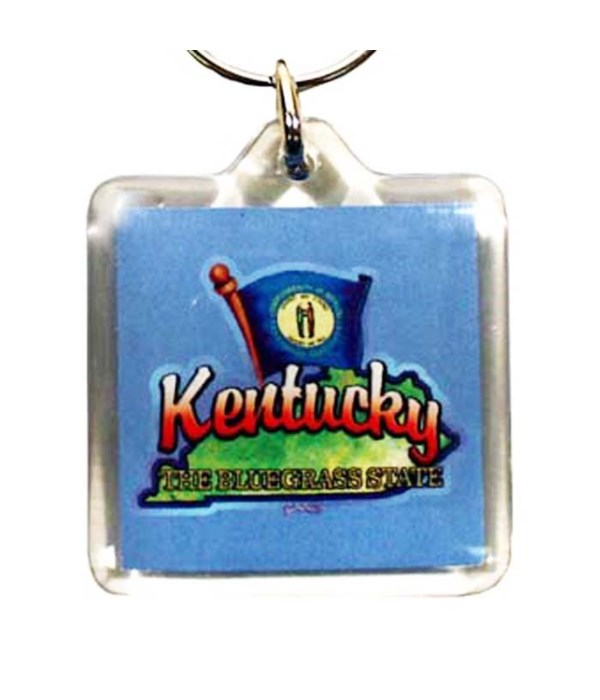 KY Keychain Lucite Map/Flag