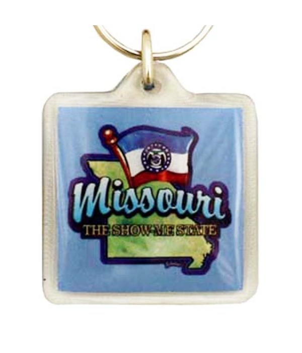 MO Keychain Lucite Map/Flag