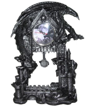 Clock w/Dragon on castle 13""