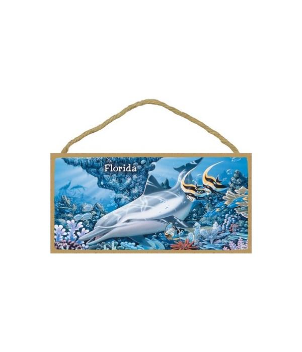 Apollo - Dolphin swimming to the left wi