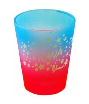 Iowa Shotglass Multi Color Stars