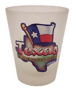 TX Shotglass Frosted Map/Flag