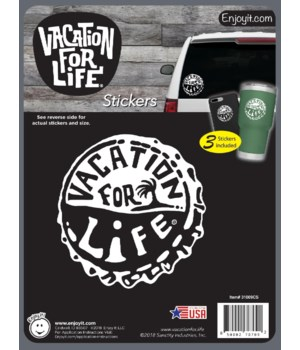 Bottle Cap - Vacation For Life Stickers