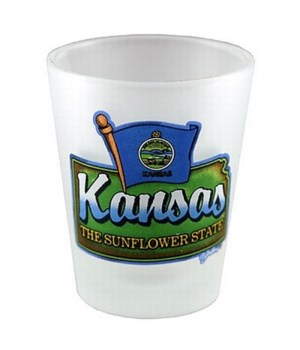 KS Shotglass Frosted Map/Flag