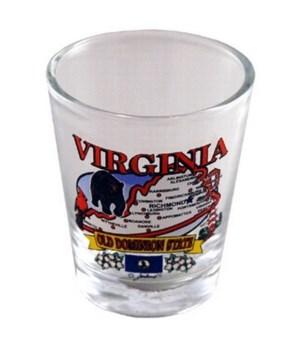 Virginia Shotglass State Map