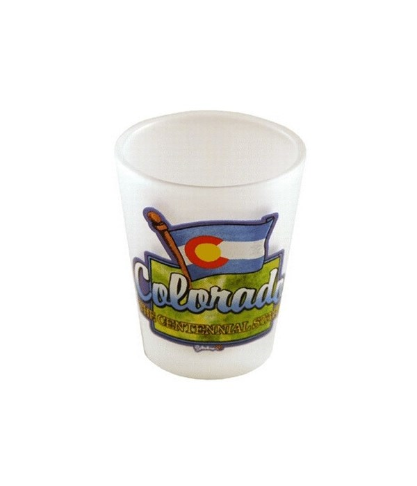 CO Shotglass Frosted Map/Flag