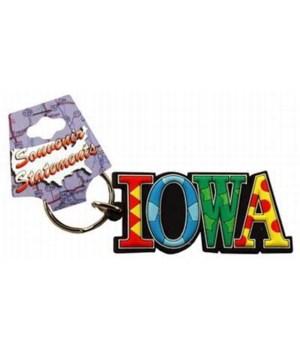 Iowa Keychain PVC Festive
