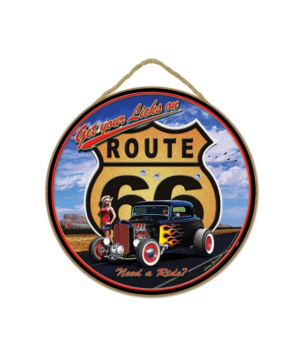 Route 66 - girl with black car with red flames