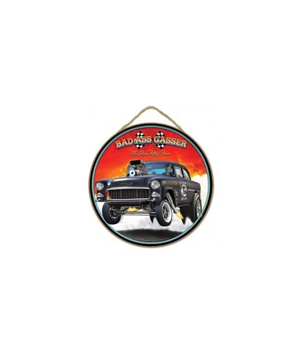"""Bad Ass Gasser black 55 Chevy 10"""" sign"""