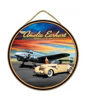 "Amelia Earhart 10"" Round sign"