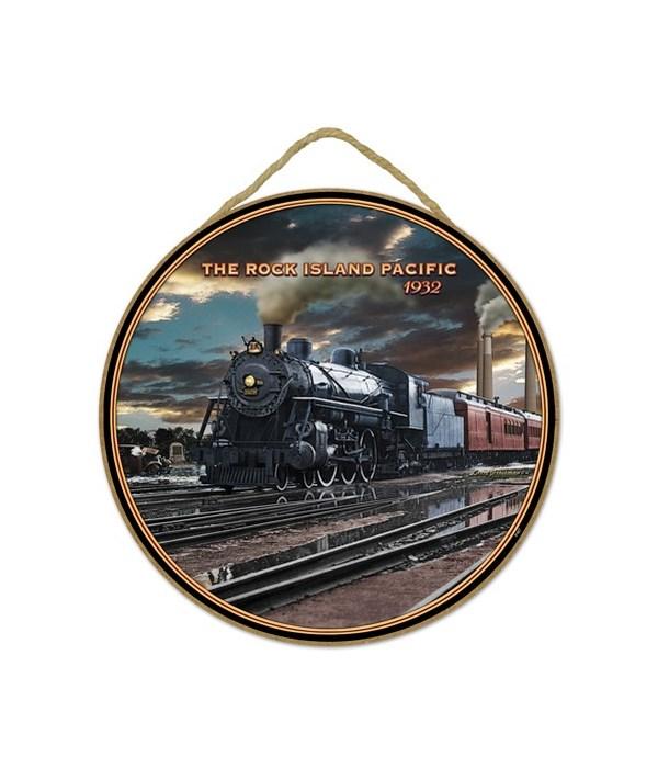 "Rock Island Pacific Train 10"" sign"