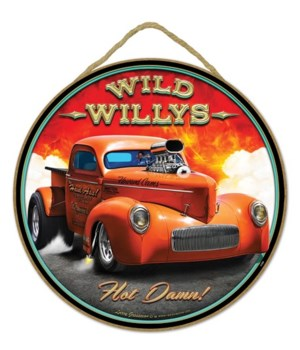 "Wild Willys Hot Damn! 10"" sign"