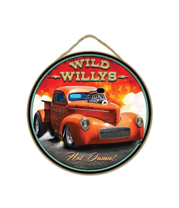 "Wild Willys Hot Damn! 10"" sign"