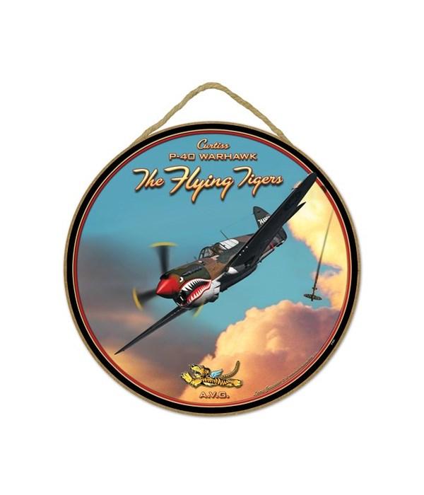 "Flying Tigers P-40 Warhawk 10"" sign"