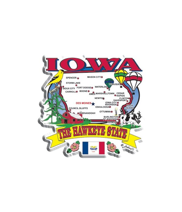 Iowa Magnet 2D State Map