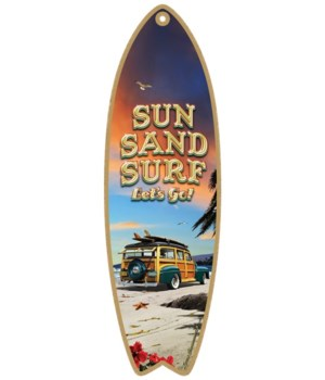 Sun, Sand, Surf, Let's go! (teal Woodie