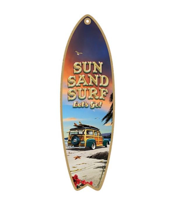 Sun, Sand, Surf, Let's go! (teal Woodie