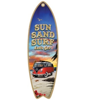 Sun, Sand, Surf, Let's go! (red and blac