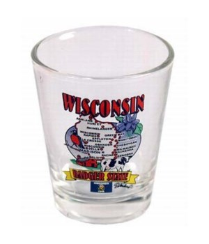 WI Shotglass State Map