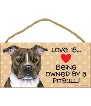 Pitbull (Brindle) Love Is.. 5x10 plaque