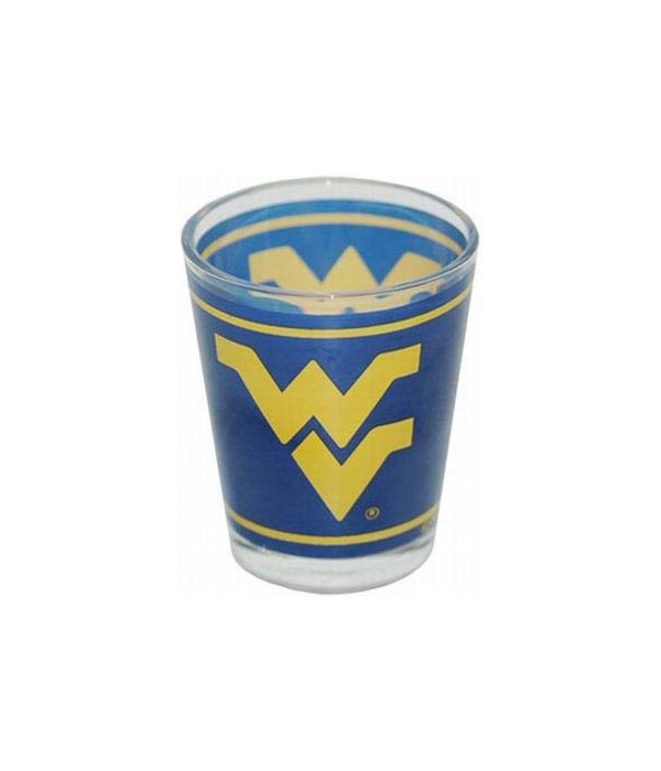 WVU yellow on blue bkrd-shotglass
