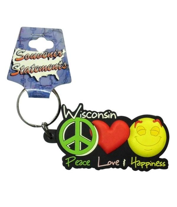 WI Keychain PVC Peace, Love & Happiness