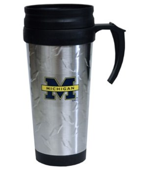 U of M Mug Travel SS Diamond Plate 12oz