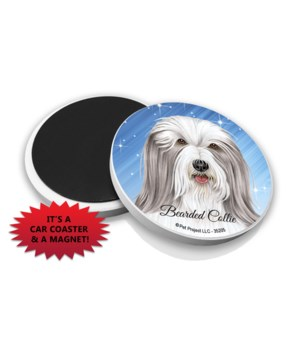 Bearded Collie car coaster /Magnet
