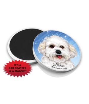Bichon Frise (puppy cut) car coaster /Ma