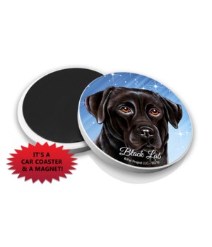 Black lab car coaster /Magnet