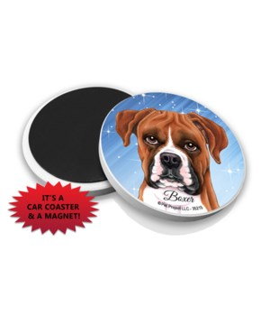 Boxer (uncropped) car coaster /Magnet