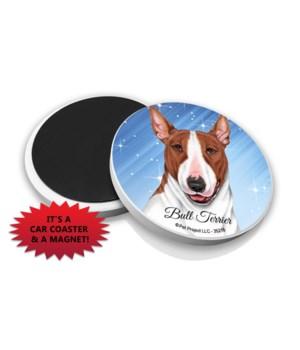 Bull Terrier (Brown and white) car coast