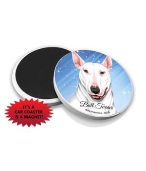Bull Terrier (White color) car coaster /