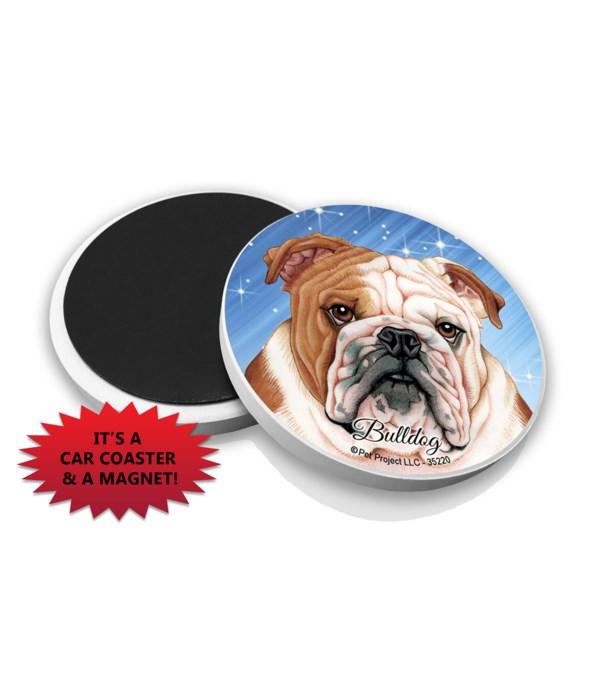 Bulldog car coaster /Magnet